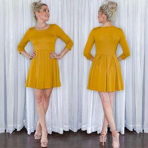 Long Sleeve Skater Skirt Golden Yellow Dress